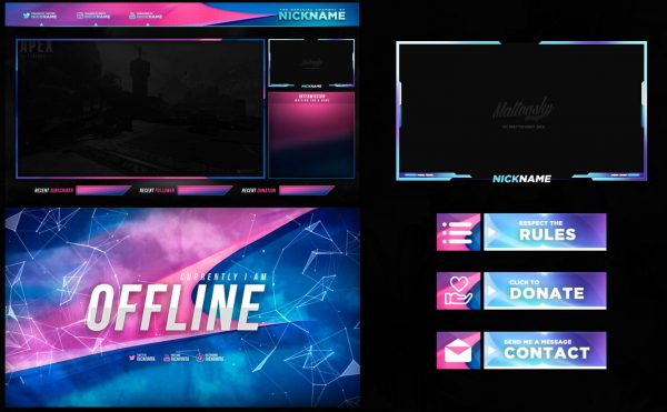 Blue and Pink Free Stream Overlay Template