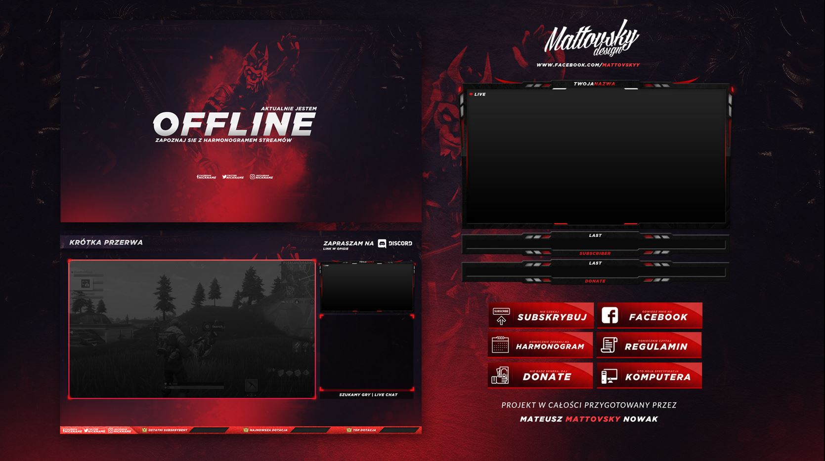 red stream overlay template