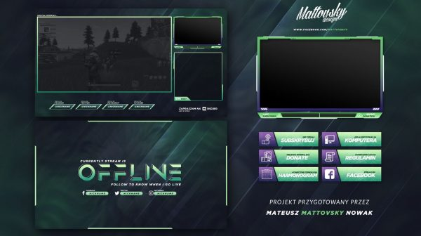 Dark Green Stream Overlay Template