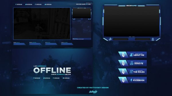 Dark Blue Stream Overlay Template