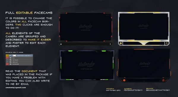 Facecam Overlay Template – Various Colors