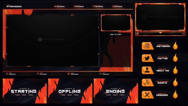 Flame Free Stream Overlay Template – Various Colors
