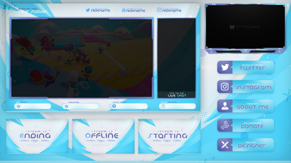 BLUE & WHITE FREE STREAM OVERLAY TEMPLATE